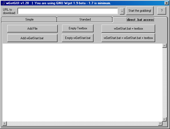 wGetGUI -- the Graphical User Interface (GUI) for wGet